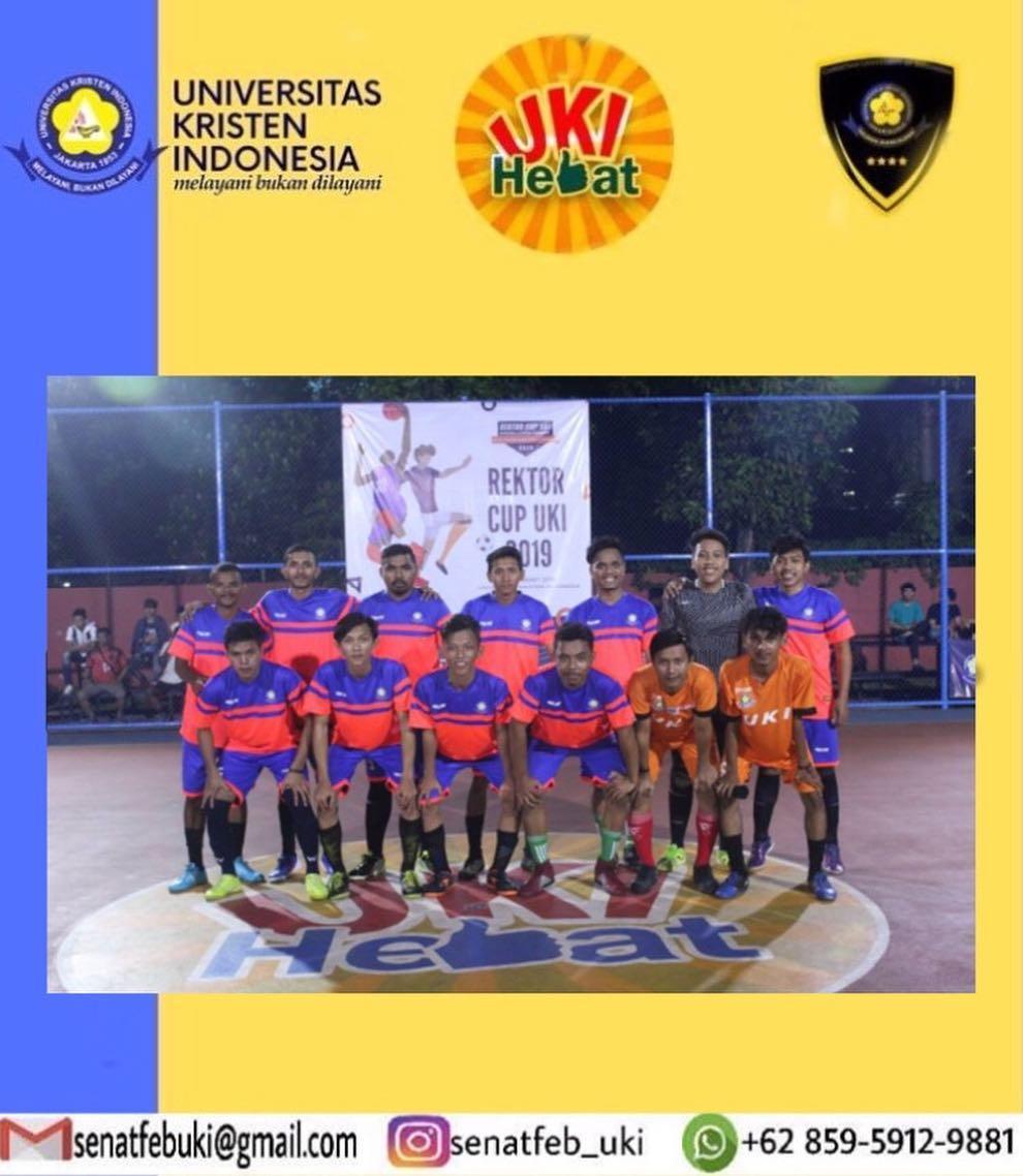 Tim Futsal FEB-UKI meraih juara 1 dan Best Player. Rektor Cup UKI 2019