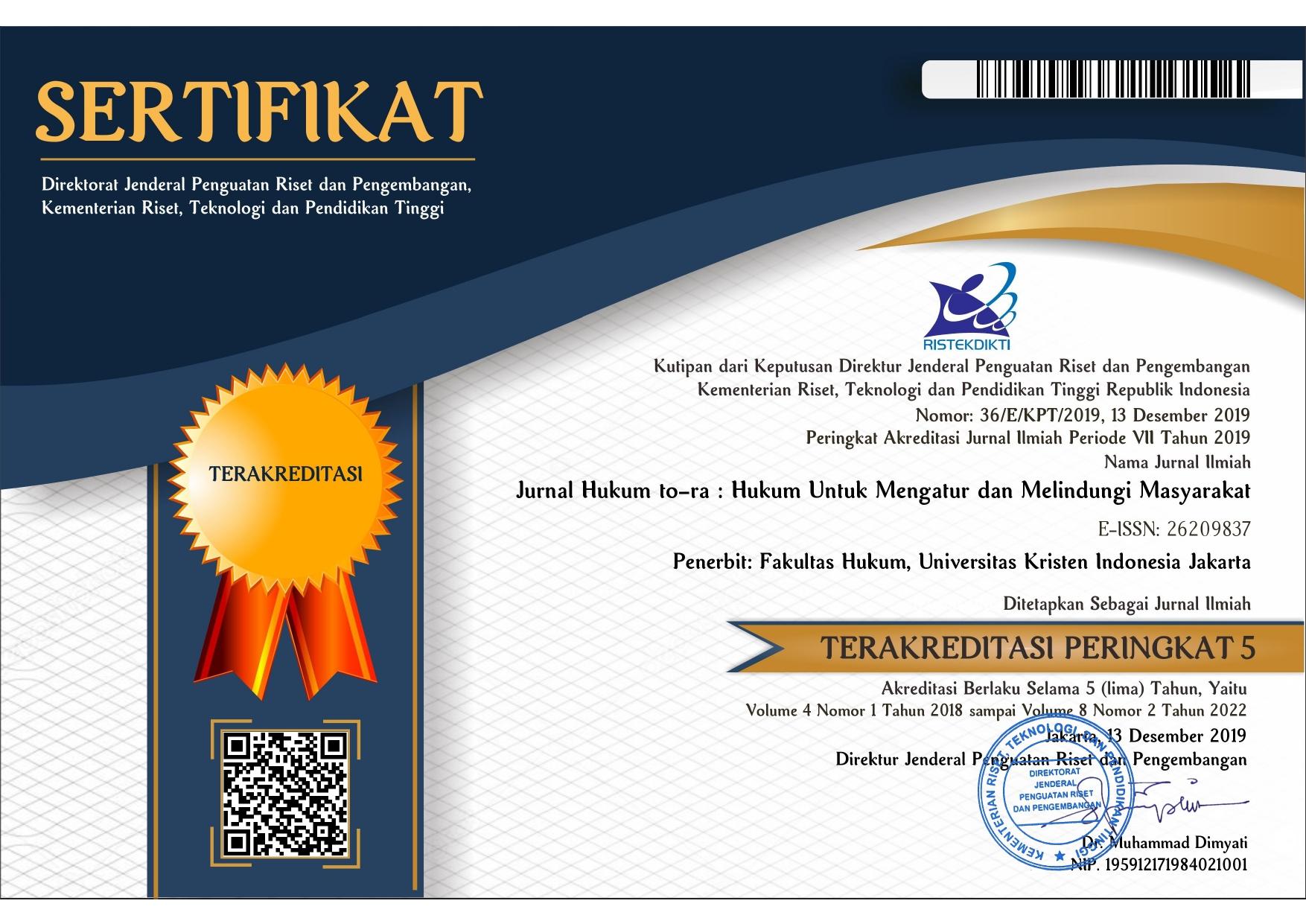 Akreditasi Nasional Jurnal Fakultas Hukum