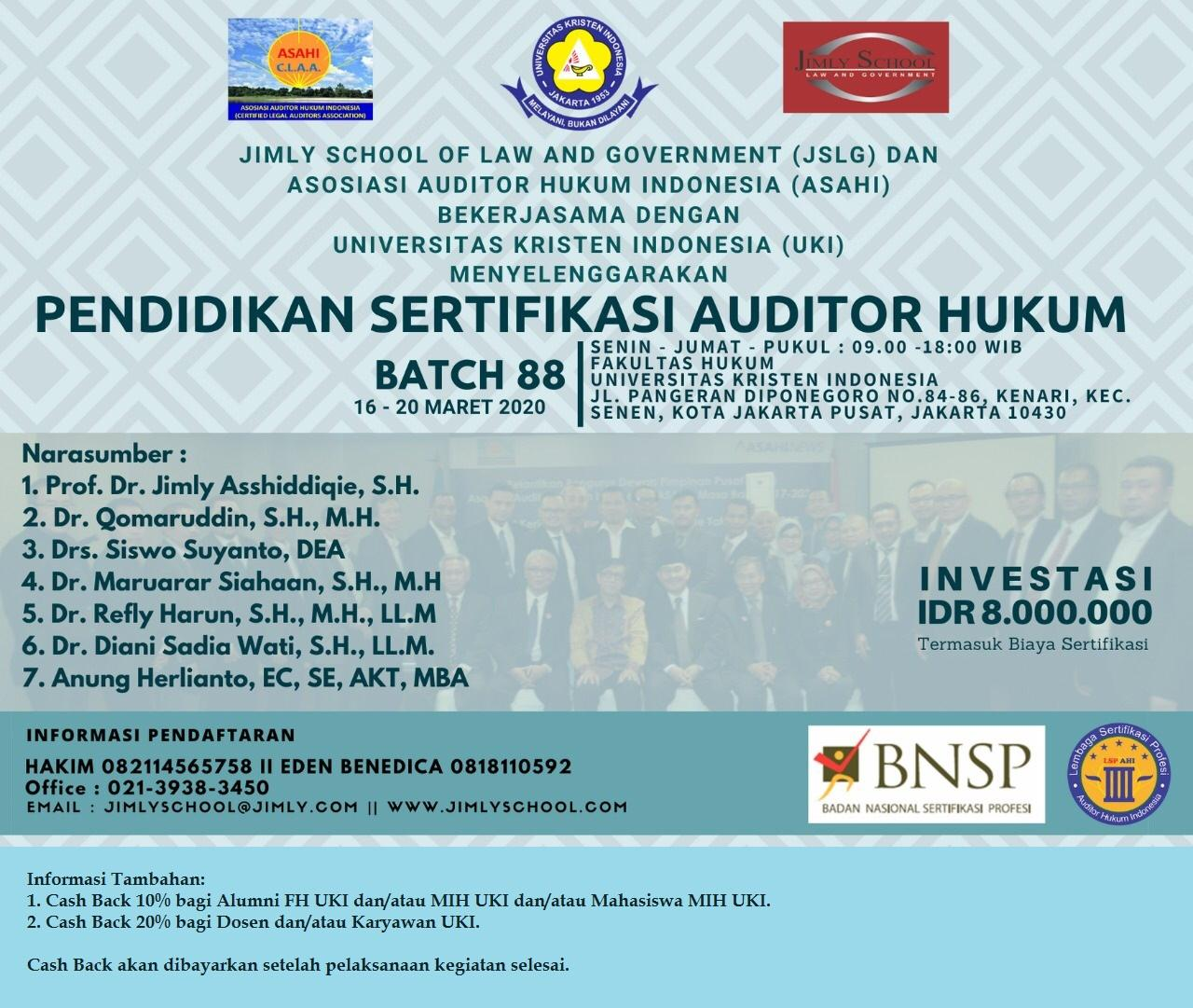 Fakultas Hukum UKI bekerja sama dengan Jimly School of Law and Government (JSLG) & Asosiasi Auditor Hukum Indonesia (ASAHI)