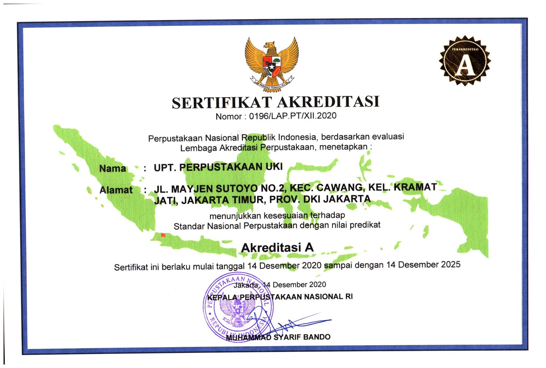 Akreditasi UPT. Perpustakaan UKI