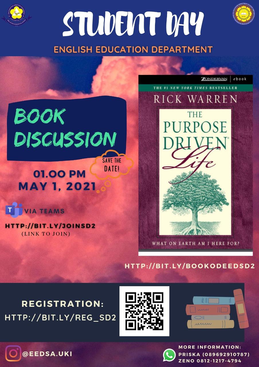 BOOK DISCUSSION THE PURPOSE DRIVEN LIFE