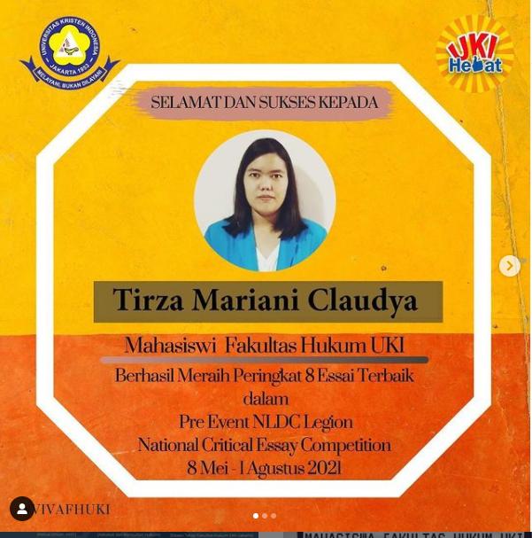 Tirza Mariani atas prestasi berhasil meraih peringkat 8 Esai Terbaik dalam Pre Event NLDC Legion National Critical Essay Competition.